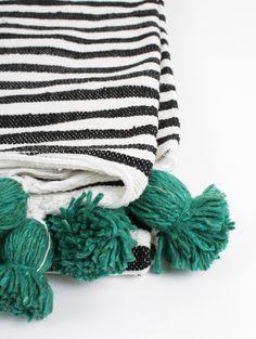 Cotton Bobble Blanket, Stripe Green