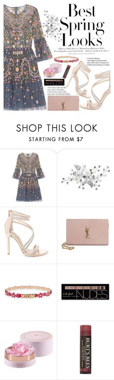 """""""Untitled #2211"""" by anarita11 ❤ liked on Polyvore featuring Needle & Thread, H&M, Steve Madden, Yves Saint Laurent, Moschino, Charlotte Russe and Burt's Bees"""