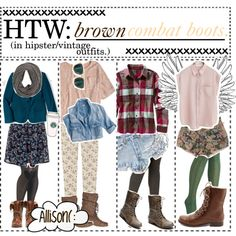 """""""HTW: brown combat boots (in hipster/vintage outfits.) ♥"""" by the-tip-committee on Polyvore"""