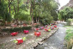 Setti Fatma im Ourika-Tal, nördlicher Hoher Atlas, Marokko: lauschig speisen am Fluss Marrakech, River, Morocco, Waterfall, Places