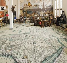 world map decor, world map flooring, floor art for interior design