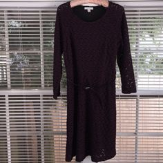 New York & Co plum color Dress with thin belt.  New York & Co deep plum color Dress 70% polyester, 29% Rayon, 1% Spandex lining 100% polyester with thin belt and black lining. Zipper on left side. New never been used. New York & Company Dresses Long Sleeve