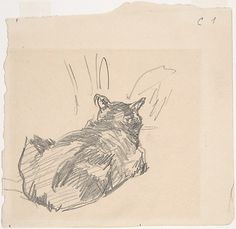 Édouard Manet (French, 1832–1883). A Cat Resting on All Fours, Seen from Behind, 1861. The Metropolitan Museum of Art, New York. Purchase, Gift of Paul Gourary in honor of Marianne Gourary's birthday, 1995 (1995.494) #cats