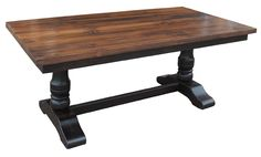 long dining table WITH PEDALSTOOL LEGS | Double Trestle Table and Bench