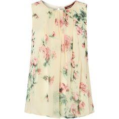 Max Mara Studio Vanessa floral print sleeveless silk top ($130) ❤ liked on Polyvore featuring tops, shirts, blouses, tank tops, ivory, knitwear, crew shirt, silk tank tops, floral print shirt and floral tank top