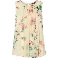 Max Mara Studio Vanessa floral print sleeveless silk top ($160) ❤ liked on Polyvore featuring tops, shirts, blouses, tank tops, ivory, knitwear, floral print shirt, loose tank, sleeveless tank tops and floral print tank top
