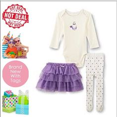 🆕 3 piece cute tutu outfit purple She's a sweet ballerina in this infant girl's bodysuit, skirt and tights trio by Little Wonders. A tiered skirt and polka-dot tights complete this darling outfit. Set: Bodysuit, skirt and tights Bodysuit: Round neck, lap shoulders, long sleeves, screen-print design, snap crotch Skirt: Elastic waist, fully lined Tights: Elastic waist, covered feet Fabric: Cotton blend Care: Machine wash. ⬇️ Temporary Price drop ❗️Lowest price ❗️ 😊New with tags. 💯…