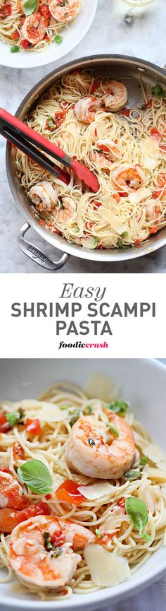 This is one of my favorite pasta dishes because it's so quick, healthy and easy to make with fresh tomatoes, basil, shrimp and cheese. Use any pasta noodle you like, but I especially like spaghetti | foodiecrush.com