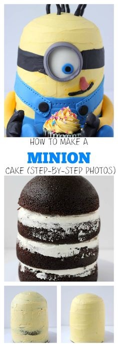 Step-by-step tutorial on making a minion cake. Uses chocolate cake recipe, vanilla buttercream frosting and fondant decorations to bring the minion to life. Cake Decorating Tips, Cookie Decorating, Cute Cakes, Yummy Cakes, Torta Minion, Minion Cakes, Beaux Desserts, Minion Birthday, Minion Party