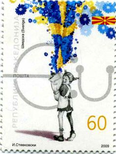 Astrid Lindgren's Pippi Longstocking gets this colorful tribute in a 2009 Macedonian stamp.