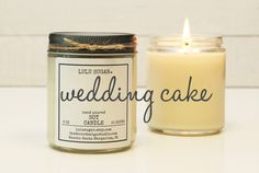 Wedding Cake Scented Soy Candle - 8 oz jar -  Soy Candle Gift / Engagement Gift / Premium Soy Candle / Bridesmaid Gift / Wedding Gift by lulusugar on Etsy https://www.etsy.com/listing/290157739/wedding-cake-scented-soy-candle-8-oz-jar