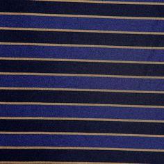 Italian Blue and Black Striped Poly Fabric by the Yard | Mood Fabrics