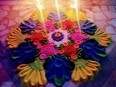 Rangoli Designs - Diwali 2020 Rangoli Designs Diwali, 4th Of July Wreath, Birthday Candles, Wreaths, Diy, Home Decor, Decoration Home, Door Wreaths, Bricolage