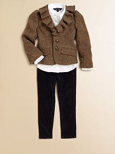 Ralph Lauren - Toddler's & Little Girl's Ruffled Tweed Jacket