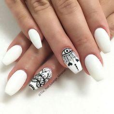 Black & White Matte Nail Art with Lace Designs.