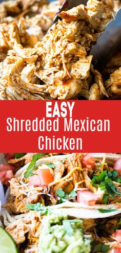 The BEST for tacos!! Easy shredded Mexican Chicken. This flavorful shredded Mexican chicken comes together in 30 minutes, start to finish and is perfect for filling tacos, burritos, taquitos, or loading up on nachos or even into a salad. This is my new favorite way to make shredded chicken! #chickenfoodrecipes #mexicanfoodrecipes