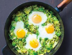 Brussels Sprouts Hash - Olive oil, rosemary, onion, garlic, brussels sprouts, eggs, salt and pepper