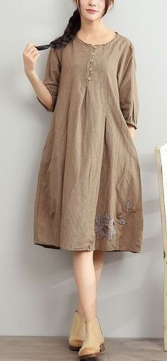 2017 gray summer linen dresses oversize sundress bracelet sleeve dress