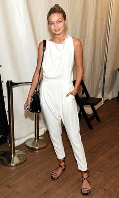 Model-Off-Duty Style: Get Gigi Hadid's Cool White Jumpsuit Look | We love this | Master the model off duty look with quality basics @ theodderside.com
