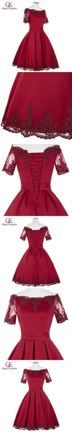 Short Cocktail Dresses 2017 Grace Karin Off The Shoulder robe de Cocktail Wedding Party Dress Satin Champagne Red Coctail Dress