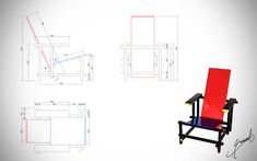 Red Blue Chair Furniture Plans, Diy Furniture, Furniture Design, Bauhaus, Rietveld Chair, Cool Things To Build, Architecture Logo, Working Drawing, Industrial Design Sketch