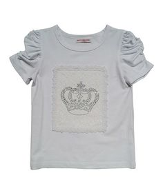 Another great find on #zulily! White Rhinestone Crown Apple Top - Toddler & Girls by Mini Treasure Kids #zulilyfinds