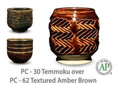 Temmoku is a textured, satin-matte dark brown/tan speckled glaze that looks great layered beneath some of the more fluid Potter's Choice glazes. With its consistent surface and reliable results, this glaze makes a fantastic liner for cups, pots, bowls, and other ware.  Due to the powdered nature of the materials involved with the dry-mix dipping buckets of this product, their respective health information and labels differ from the brushing glazes.