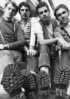 Picture of legendary English rock band Slade's Noddy Holder, Don Powell, Jim Lea and Dave Hill and their boots, England, 1969. A fan favourite. Copyright The Northcliffe Collection (being the trademark under which Solo Syndication holds these images). This is one of two amazing Slade prints available on our range. This black & white image is printed on high-quality semi-gloss 190gsm paper. Available sizes: A3 - 29.7 x 42 cm (11.7 x 16.5 inches) Large - 61 x 91.5 cm (24 x 36 inches) Please no Skinhead Fashion, Punk Fashion, Skinhead Style, Skinhead Boots, Dr Marteen, Slade Band, Noddy Holder, Rude Boy, Thing 1