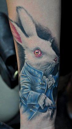 Alice in wonderland tattoo by Benjamin Laukis White Rabbit Tattoo, Rabbit Tattoos, Creepy Tattoos, Funny Tattoos, Beautiful Rabbit, Beautiful Body, Mark Tattoo, Insect Tattoo, Cartoon Tattoos