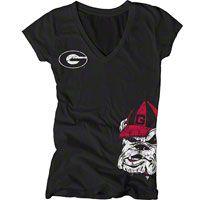 Georgia Bulldogs Women's Black Cossett Mascot Deep V-Neck Tee