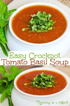 Crockpot Tomato Basil Soup recipe - easy, healthy and made in slow cooker. Vegetarian or vegan / dairy free. This Healthy Crock Pot Soup tastes so good and is the BEST Tomato Soup you can make at home. / Running in a Skirt #soup #crockpot #slowcooker #recipe #healthy Easy Soup Recipes, Easy Healthy Recipes, Vegetarian Recipes, Dinner Recipes, Salad Recipes, Dinner Ideas, Best Tomato Soup, Tomato Basil Soup, Slow Cooker Recipes