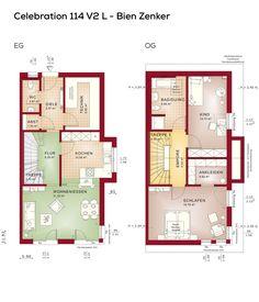 Grundriss Doppelhaushälfte Mit Satteldach Architektur 3 Zimmer 113 Qm Wfl Erdgeschoss Modern Küche Offen Als Wohnküche Obergeschoss Doppelhaus
