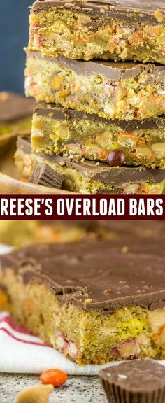 Loaded with peanut butter and chocolatey goodness these Reese's Overload Bars are your new go hand help treat! via @amiller1119