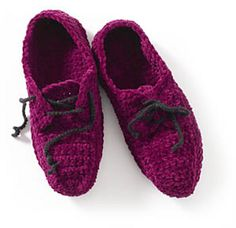 Crochet Oxford Slippers by Lion Brand Yarn