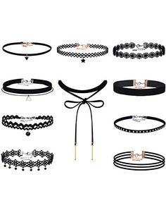 Mudder Black Velvet Choker Necklaces Lace Gothic Tattoo Stretch Choker Leather Pendant Necklace,10 Pieces