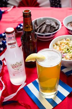 The Yankee Doodle Shandy is a fresh new way to refresh your July 4th BBQ. Just mix Smirnoff ICE with lager beer.