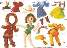 The Paper Dolls of Laura: Muñecas del mundo Papercraft Anime, All Paper, Paper Paper, Paper Houses, Vintage Paper Dolls, Paper Toys, Free Paper, Cool Kids, Doll Clothes