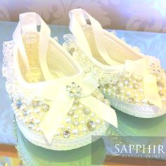 Hand embellished baby shoes by Sapphire Bespoke Events, Wirral x