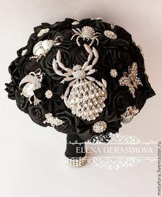 Свадебные цветы ручной работы. Ярмарка Мастеров - ручная работа. Купить Брошь букет невесты ЧЕРНЫЙ. Handmade. Букет невесты