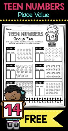 TEEN NUMBERS - Place Value kindergarten math worksheet - tricky teens - number and operations in base 10 common core domain #kindergartenmath #kindergarten #teen numbers