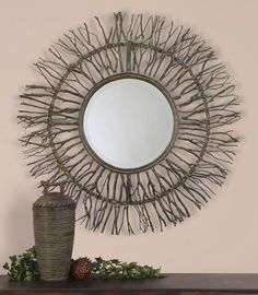 Frame Is Made Of Real Birch Branches Woven Onto A Wooden Frame With Burnished Edges And Light Gray Accents. Mirror Has A Generous 1 Bevel.Real Birch Branches With Burnished Edges And Light Gray Accents Are Woven Onto A Wood Frame. Uttermost Mirrors, Mirrors Wayfair, Antique Coat Rack, Birch Branches, Sunburst Mirror, Floor Mirror, Sun Mirror, Mirror Glass, Round Mirrors