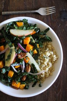 Roasted Butternut Squash Kale Salad with Orange-Sage Dressing | www.theroastedroot.net