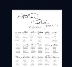 PRINTABLE Wedding Seating Chart  ANY COLOR wedding by Dantell