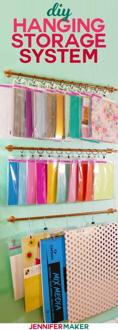 DIY hanging storage system for craft supplies – jennifer maker – ARTSUPPLİES Hanging Organizer, Hanging Storage, Diy Hanging, Craft Room Storage, Craft Organization, Diy Storage, Craftroom Storage Ideas, Craft Rooms, Office Storage