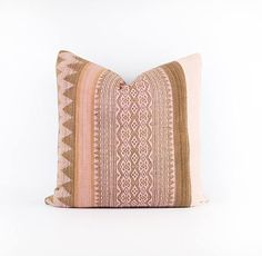20 x 20 Pillow Cover  *Please note the pillow insert is not included*  -Pink Indonesian textile and pink African mudcloth on the front -Heavy weight flax color 100% linen on the back -Gold metal zipper detail  Best to spot or dry clean.  Feather insert two sizes up recommended. Made to order. 2-3 week lead time.