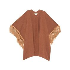 Queene and Belle Honor fringed cashmere poncho (7 690 SEK) ❤ liked on Polyvore featuring outerwear, tan, brown poncho, cashmere poncho and fringe poncho