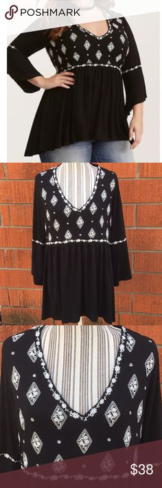 Torrid geo print embroidered bell sleeve tunic NWT Sold out online. Never washed or worn torrid Tops Tunics