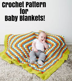 Big Border Baby Blanket | FREE Crochet Pattern | Crochet Baby Blanket