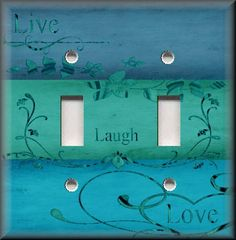 Light Switch Plate Cover Live Laugh Love Home Decor Ombre Turquoise Blues | eBay