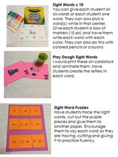 Sight Word Centers  {Editable}! There are 12 centers/activities. You have the ability to change the words as often as you need to. You will type in the SIX words you are working on and all of the pages will be automatically generated for you. This set includes: Scavenger Hunt, Roll & Write, Rainbow Writing, Stamp & Read, Write a Sentence With Each Word, Playdough Mats, Pocket Chart Words, and more! $